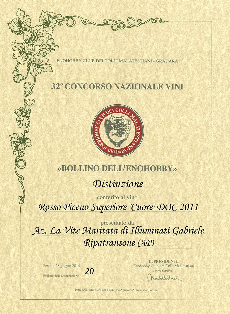 Enohobby Rosso Piceno Superiore 'Cuore' DOC 2011